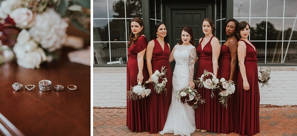 Burgundy red bridesmaid dresses