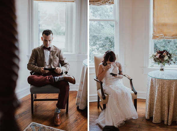 Bride and groom reading love letters from each other