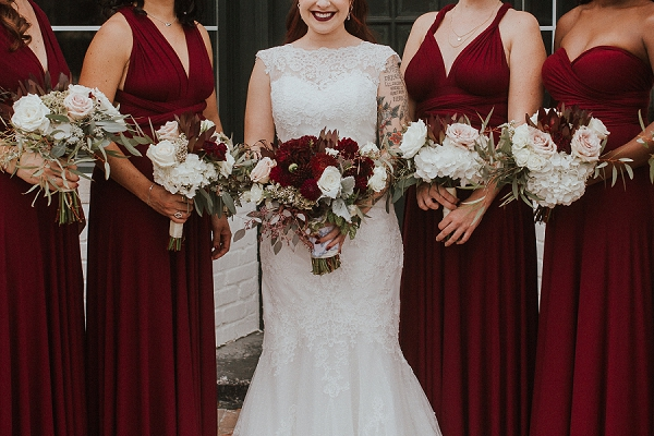 Burgundy red and white bridesmaid bouquets