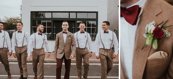 Groomsmen in khaki brown and burgundy red bow ties