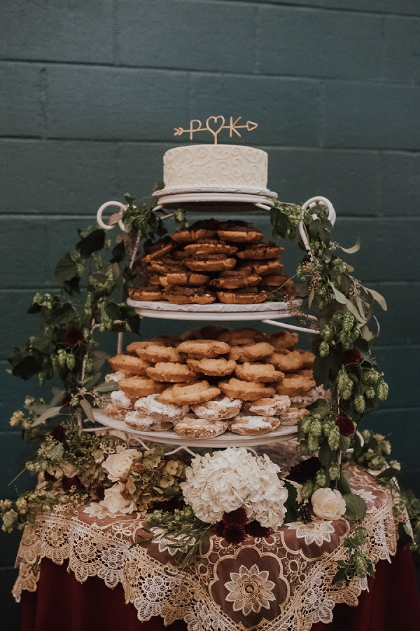 Assorted wedding donut display