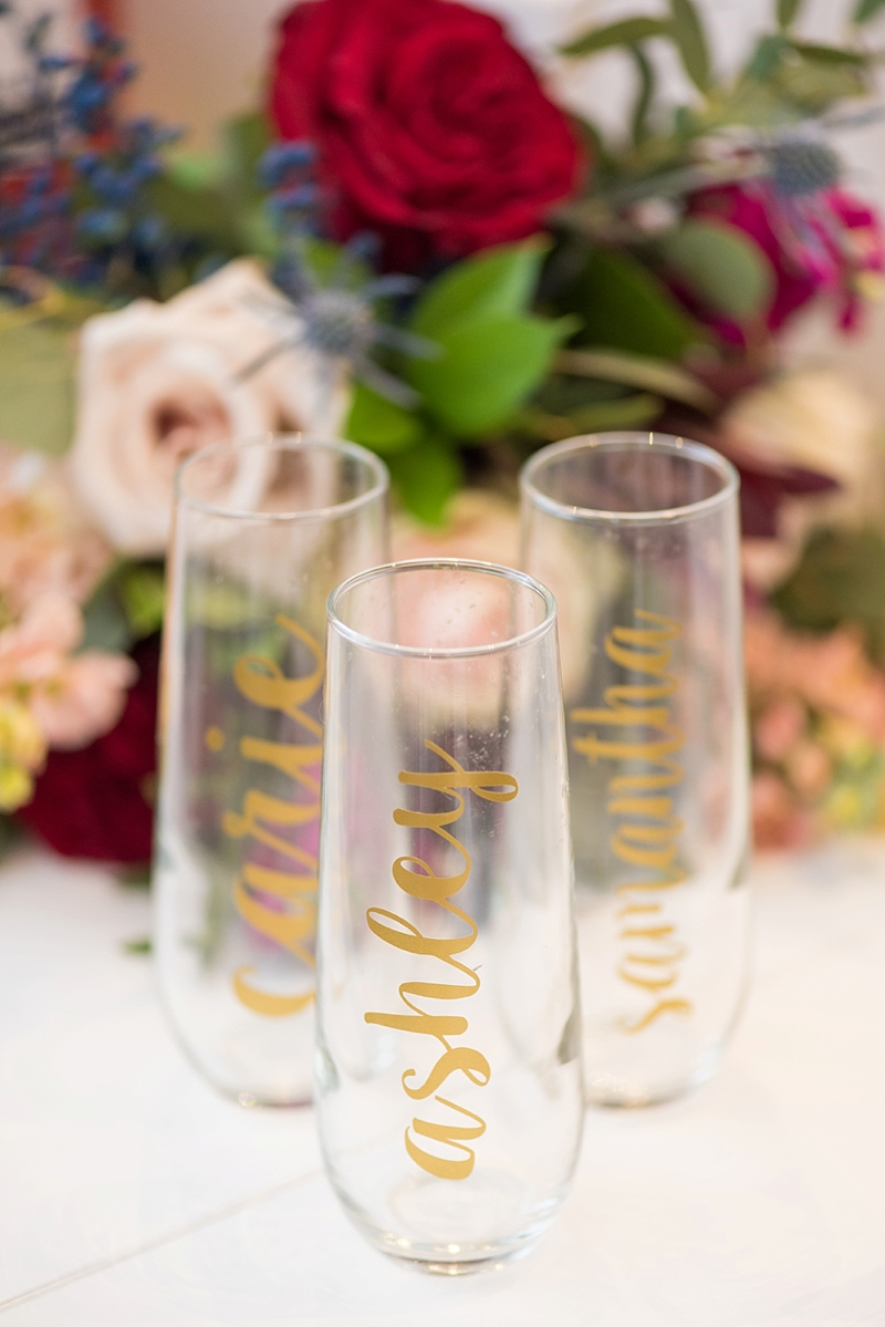 Handmade personalized toasting glasses made with Cricut machine for bridesmaid gifts