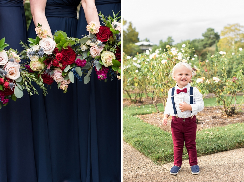 Adorable ring bearer with burgundy red pants and tiny red bow tie for fall wedding
