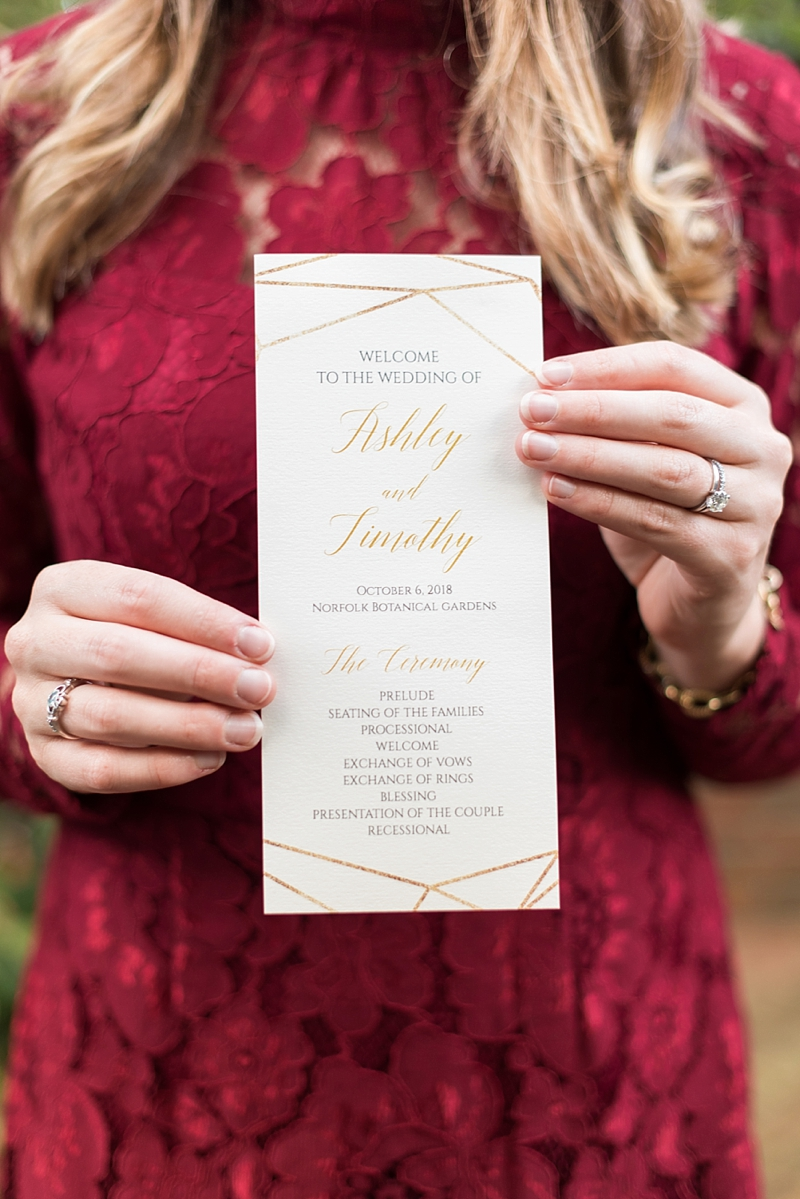 Geometric inspired wedding program with gold foil details