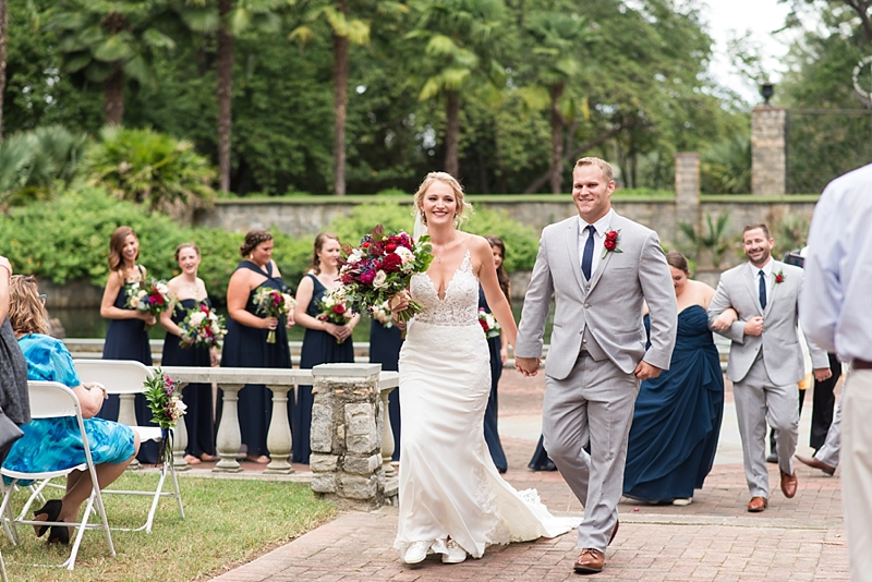 Sweet wedding ceremony in the Renaissance Court at Norfolk Botanical Garden in Virginia