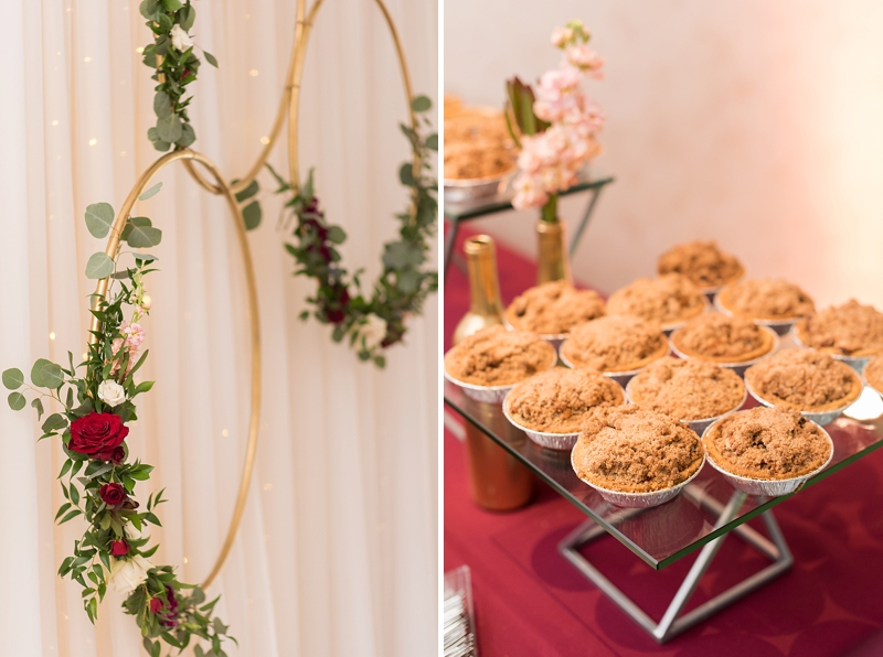 Red and blue wedding ideas with gold hoops and mini pies