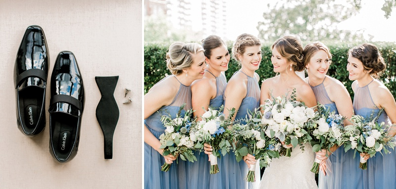 Elegant bridesmaids in soft blue dresses at Chrysler Museum of Art in Norfolk Virginia