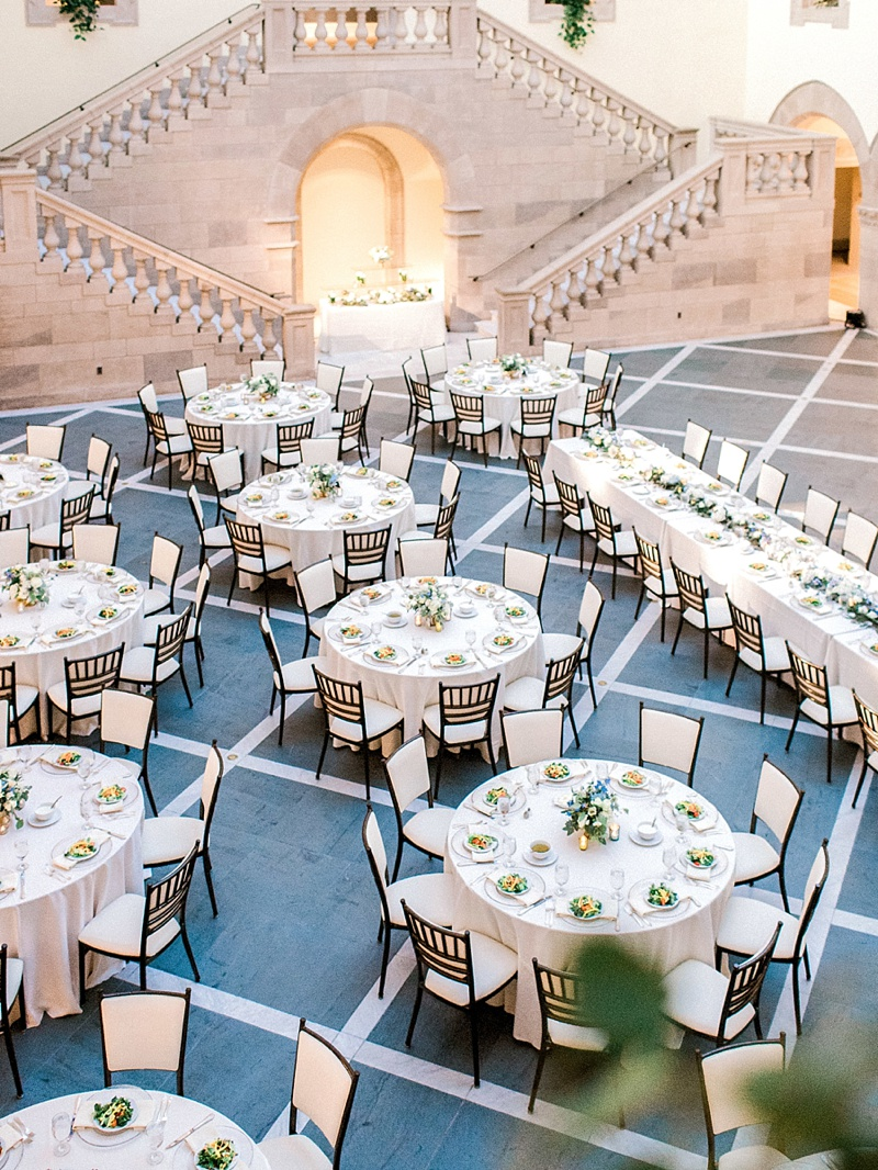 Simple and elegant summer wedding reception in the Huber Court at the Chrysler Museum of Art