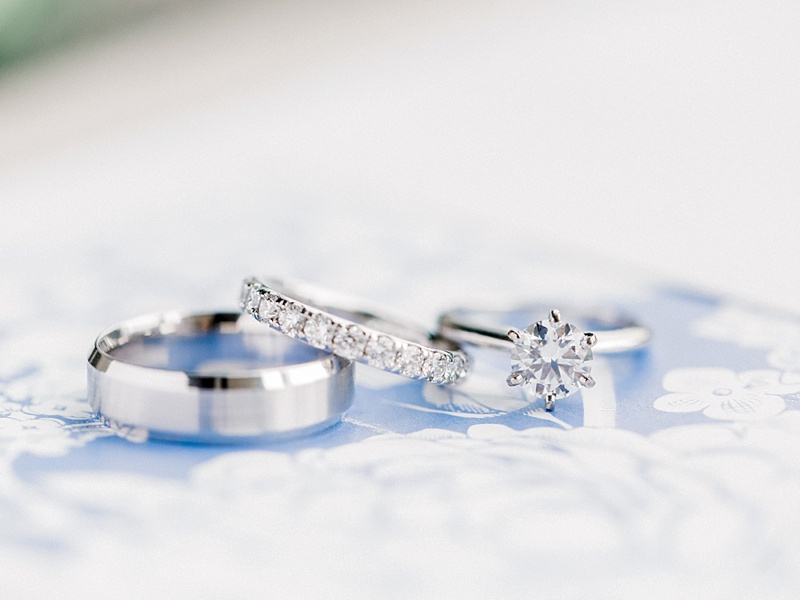 Classic white gold and ethically sourced diamond wedding and engagement rings for timeless bride and groom from Blue Nile