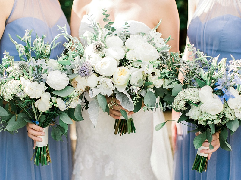 Textured blue and green and white wedding bouquets for bride and bridesmaids