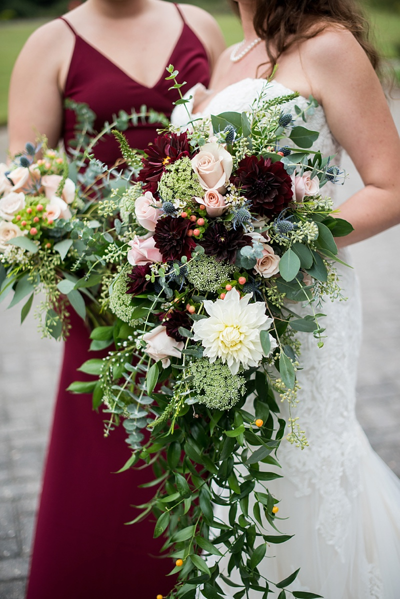 Cascading fall wedding bouquets with homegrown dahlias and italian ruscus