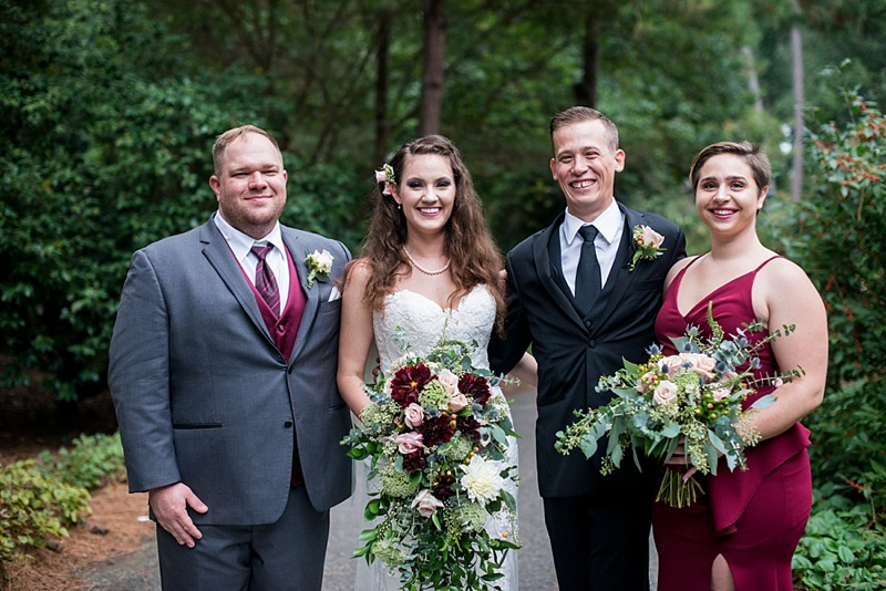 Wedding party dressed in gray and burgundy red for a fall wedding