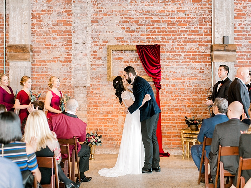 Romantic wedding ceremony at Commune Restaurant in Norfolk Virginia