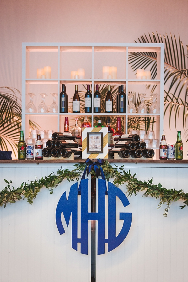 Modern blue monogram for wedding reception bar decor
