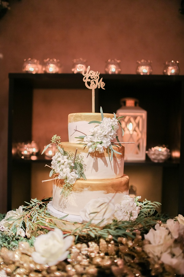 Gold and White Wedding Cake in Norfolk Virginia