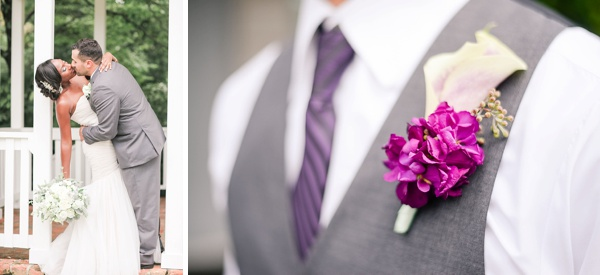 Purple and White Groomsman Boutonniere in Norfolk Virginia