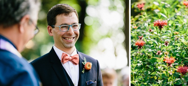 Happy groom at garden wedding ceremony in Norfolk Virginia