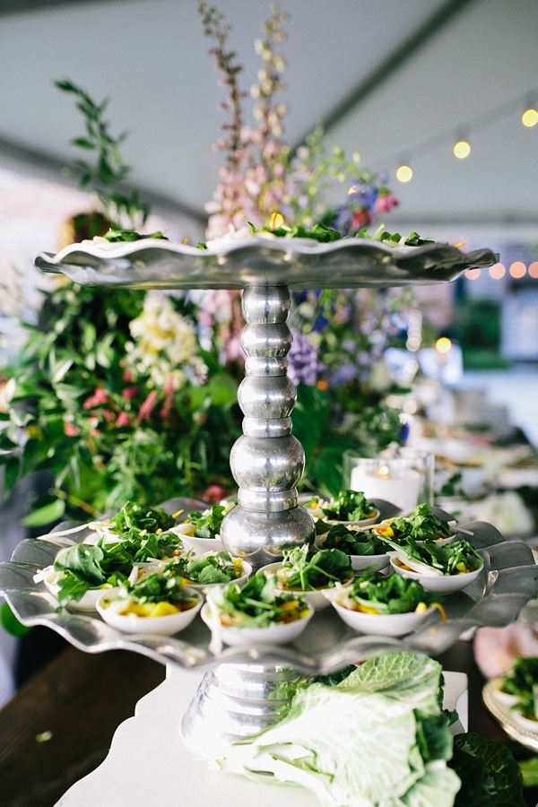 Garden fresh appetizers for outdoor summer wedding