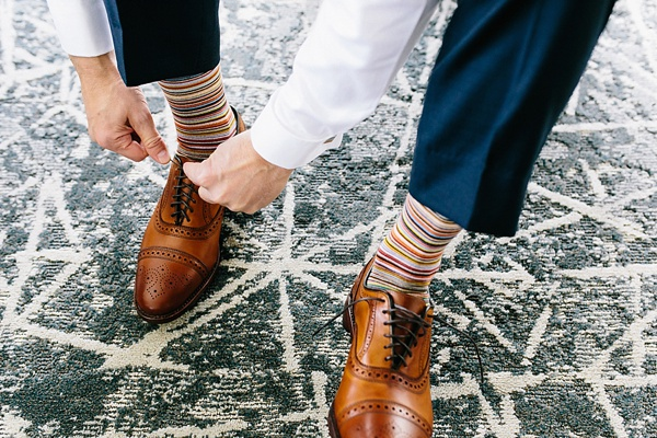 Paul Smith rainbow socks for stylish LGBT wedding