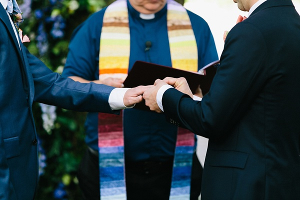 Rainbow officiant stole for garden wedding