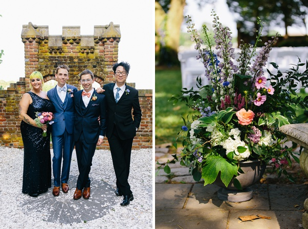Unconventionally elegant wedding party with groomsmaid and fabulous grooms