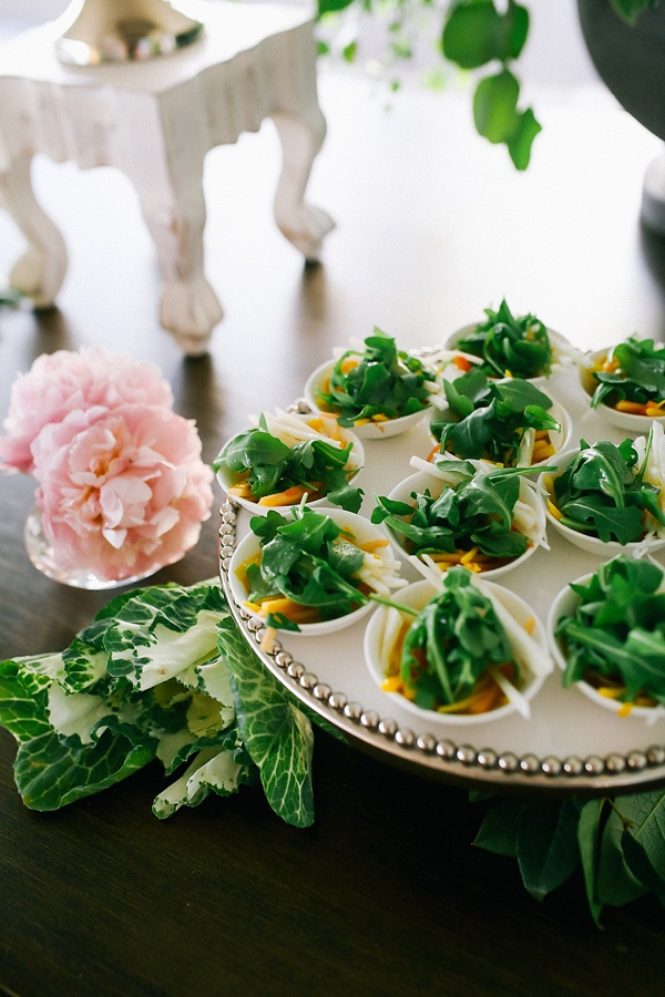 Beautifully arranged wedding food for a fresh garden celebration