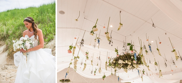 Gorgeous ceiling flowers for uniquely whimsical wedding reception at the beach