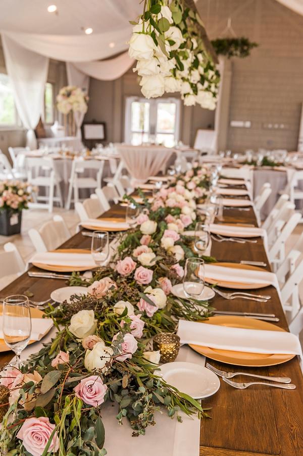 Suspended florals for unique wedding reception idea