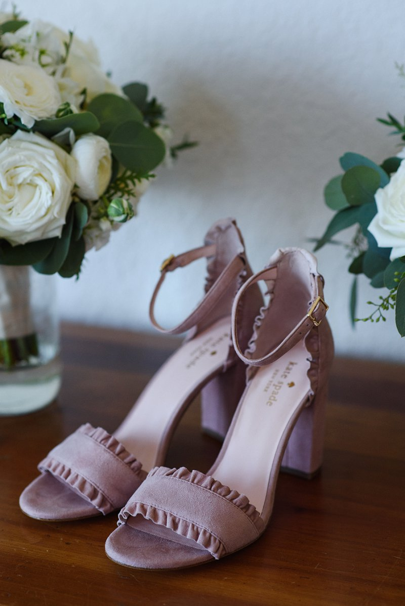Tan suede Kate Spade bridal shoes for beach wedding
