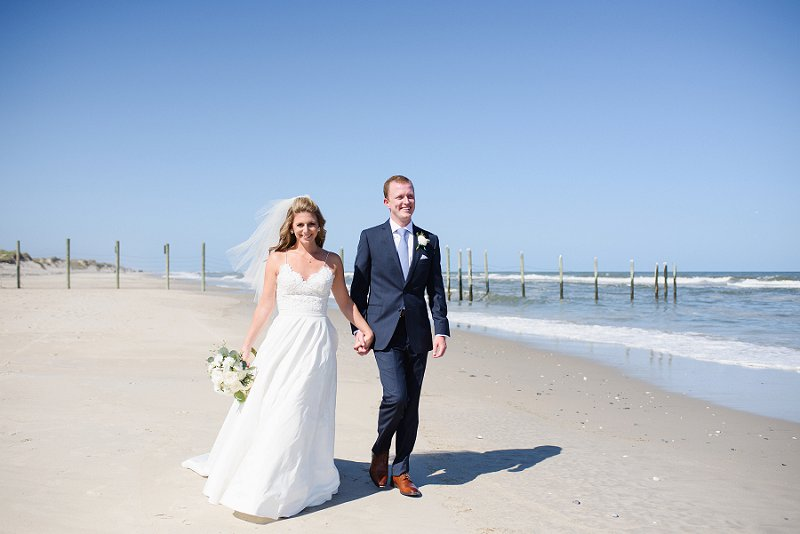 Beach bride and groom at Whalehead Club in Outer Banks North Carolina for destination wedding