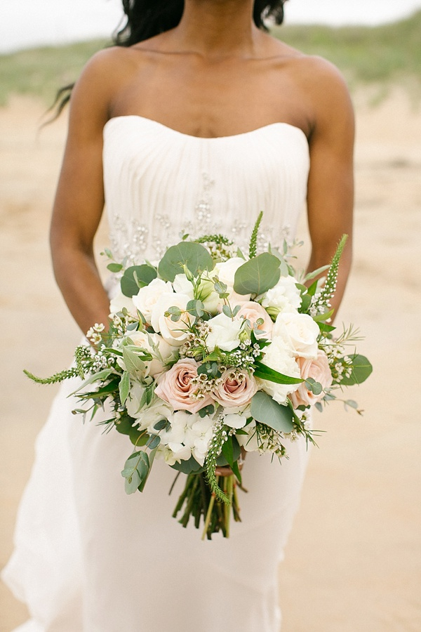 Beach bridal bouquet with hydrangeas and roses