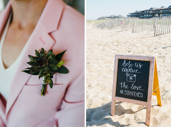 Pink bridal blazer with green boutonniere