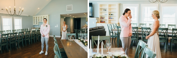 First look moment between two brides at Outer Banks beach house