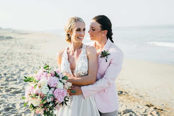 Chic Outer Banks beach wedding with two brides