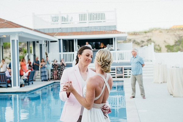 First dance for two brides at Outer Banks beach house wedding