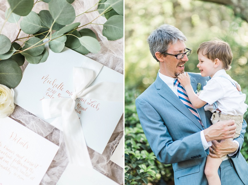 Adorable moment between groom and his son in the Outer Banks for a marriage celebration