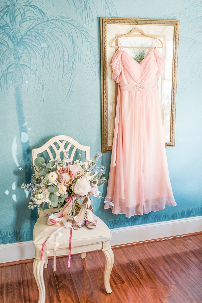 Gorgeous pastel pink dress for wedding vow renewal at the beach