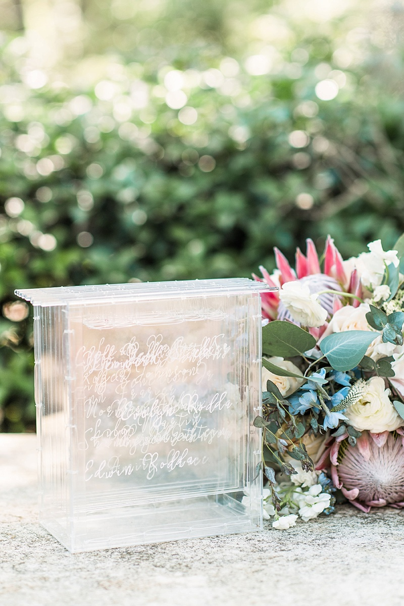Beautiful modern handwritten wedding vows on clear acrylic squares for unique memento