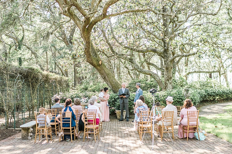 Wedding vow renewal ceremony at the Elizabethan Gardens in the Outer Banks