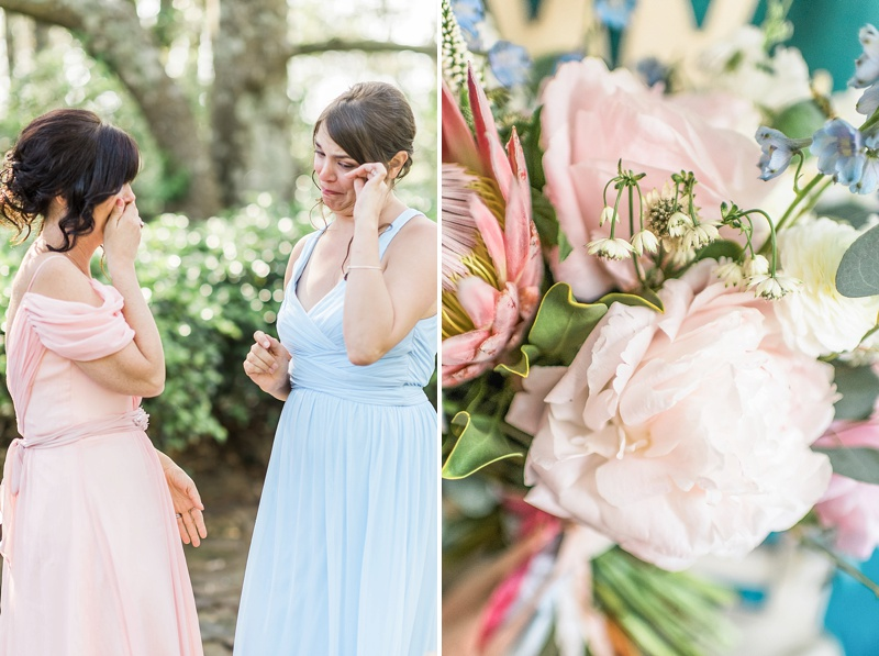Sweet moment between bride and bridesmaid in the Outer Banks