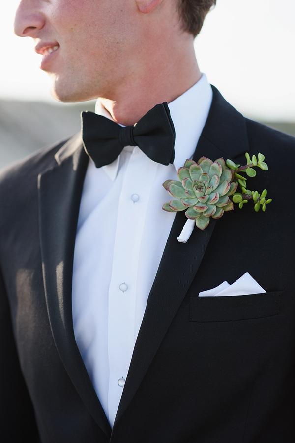 Succulent wedding boutonniere