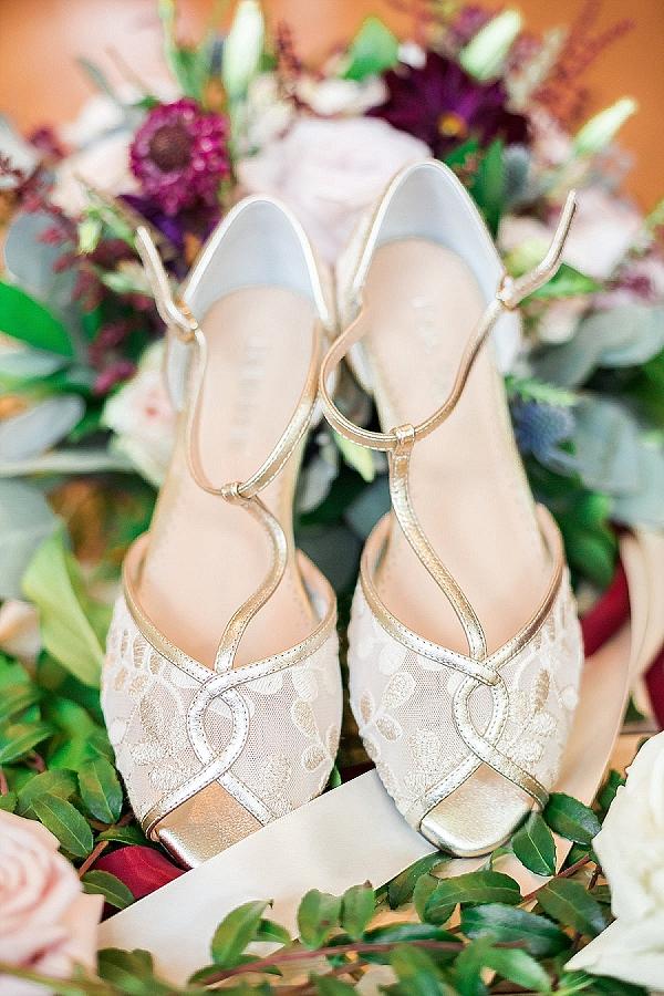 Gold and white peeptoe bridal shoes