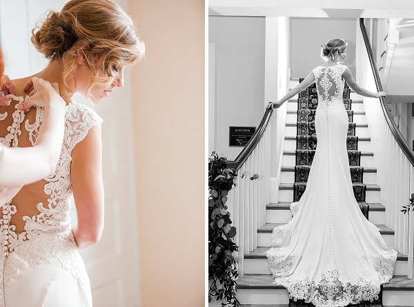 Statement back on lace wedding dress