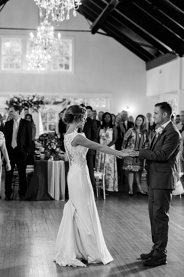 Bride and groom share their first dance at Womans Club of Portsmouth in Hampton Roads Virginia