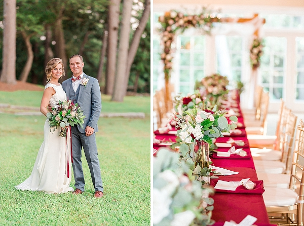 Long wedding reception table with red tablecloth