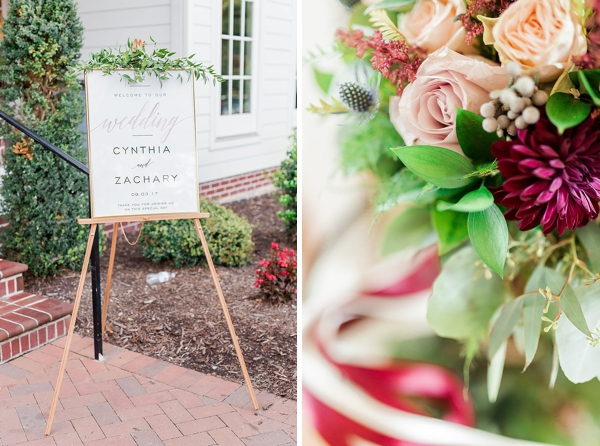 Romantic modern wedding reception welcome sign