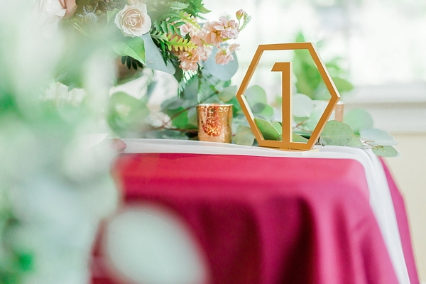 Geometric wedding table number