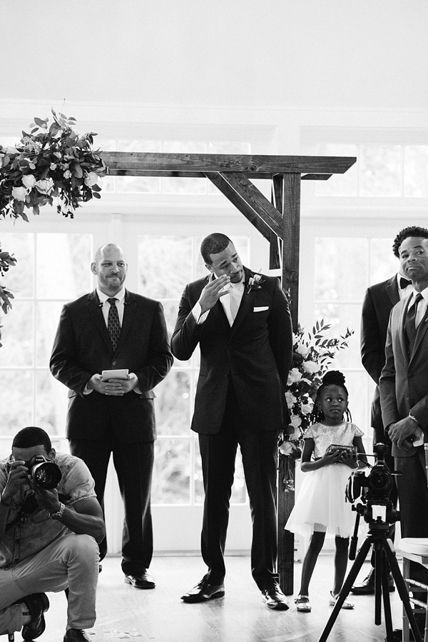 Emotional moment when groom sees his bride for the first time