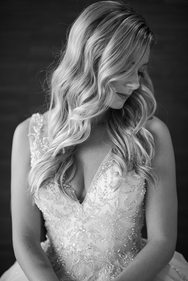 Classic black and white portrait of bride