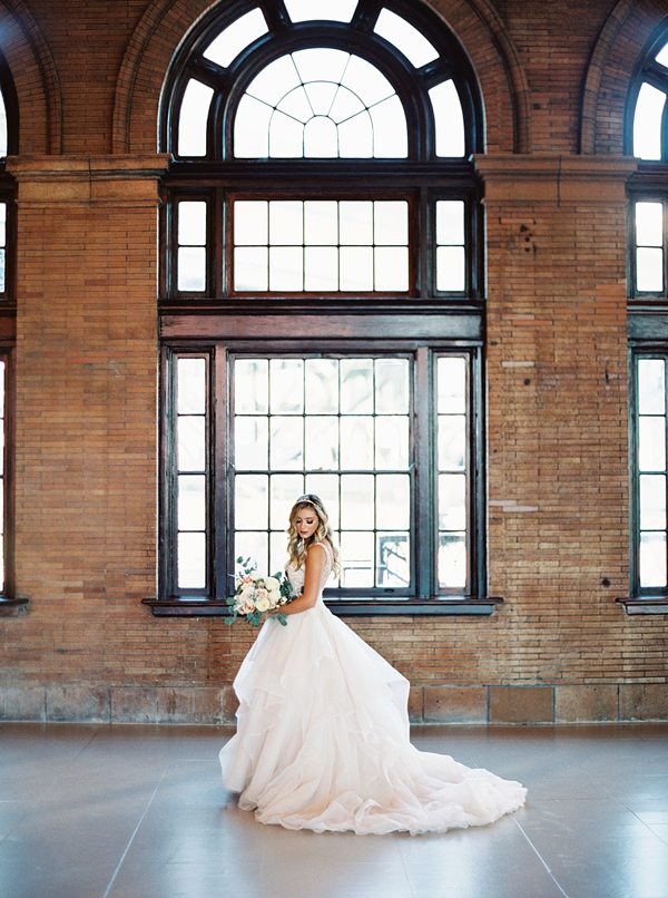 Bridal portraits in an old train station in Richmond Virginia